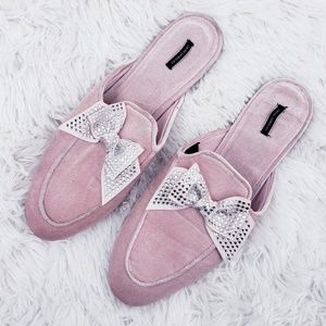 Victoria's Secret Shoes - Victoria's Secret Pink Bling Ribbon Bow Slippers